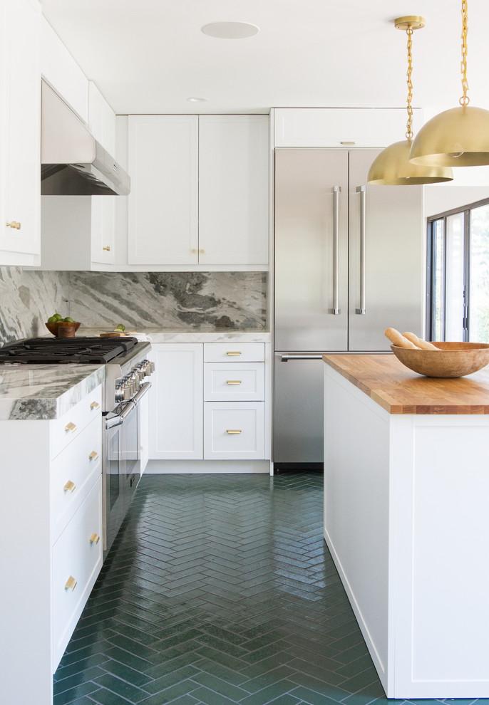 Green Brick Herringbone Kitchen Floor Contemporary Kitchen Los Angeles By Fireclay Tile
