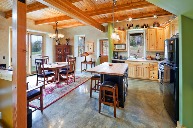 Green Cottage   Kitchen With Radiant Floor Heating In Stained Concrete  Floors Rustic Kitchen