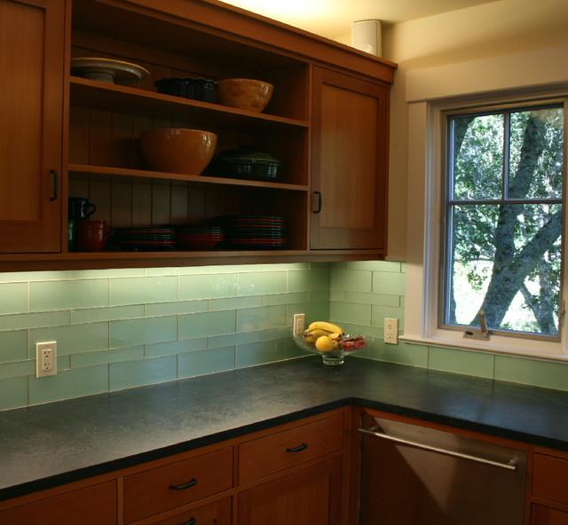 Green Glass Kitchen Backsplash Mill Valley Modern Kitchen
