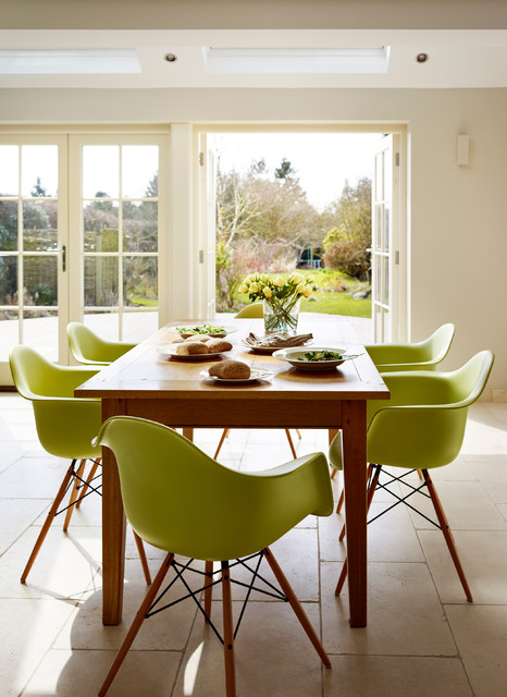 Green Kitchen Dining Charles And Ray Eames Chairs