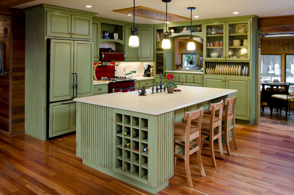 Green Kitchen Refacing Traditional Kitchen Portland