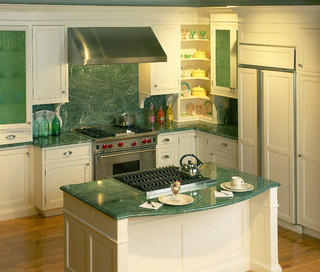 Green marble and fluted glass eclectic-kitchen