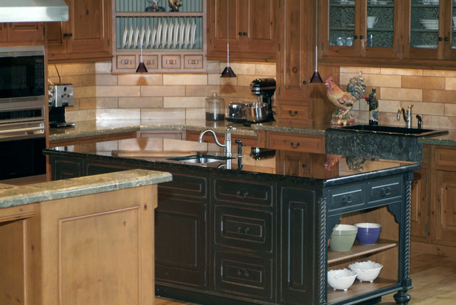 Green Seafom Volga Blue And Black Galaxy Granite Rustic Kitchen Rustic Kitchen Seattle