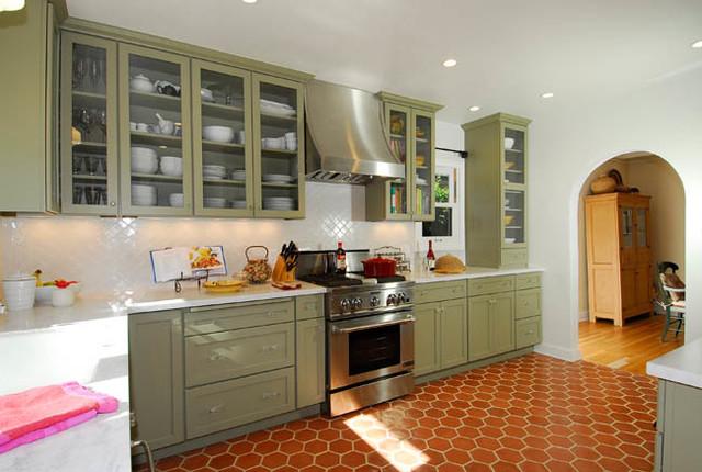 Green Spanish Style Kitchen