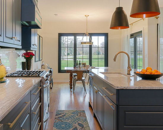 61 Mid Sized Farmhouse Kitchen Design Photos with Blue Cabinets