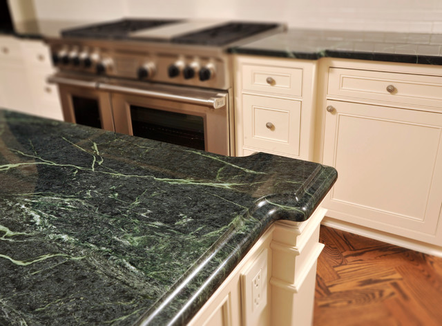 greenwich kitchen - green serpentine polished countertops
