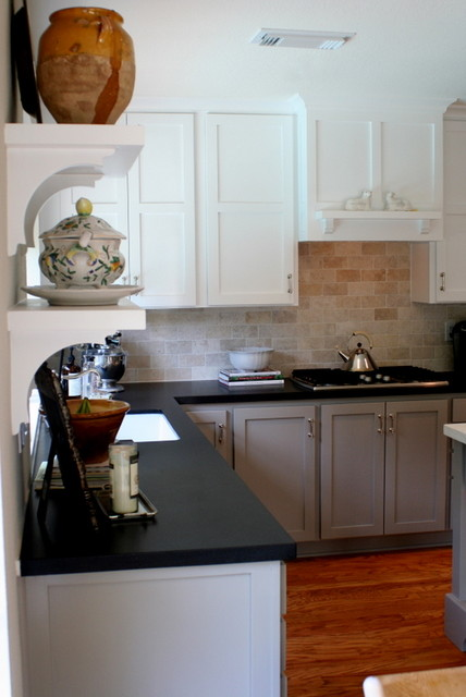 Greige & White Kitchen - Traditional - Kitchen - houston - by Dovecote Designs