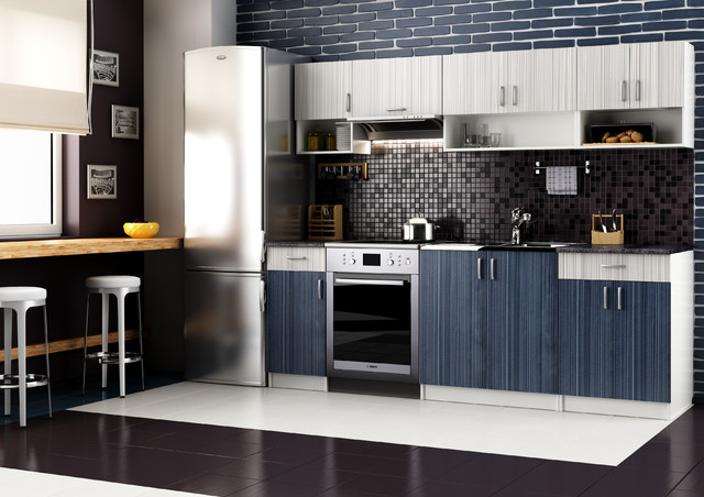 Grey and Blue thermofoil kitchen  Modern  Kitchen  denver  by
