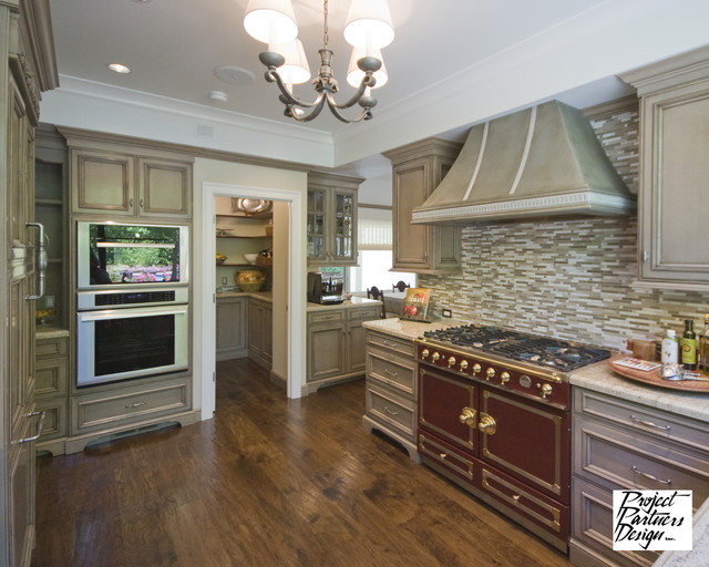 Grey and burgundy kitchen traditional kitchen san for Burgundy kitchen cabinets pictures