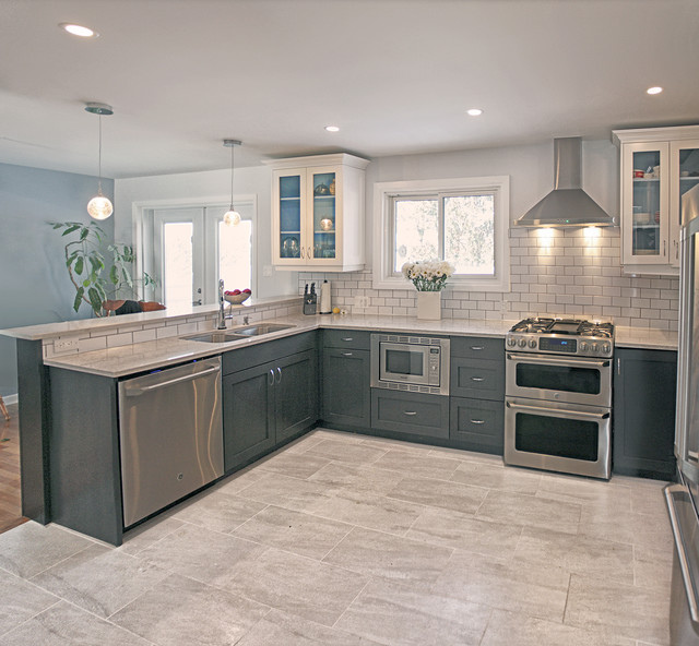 Grey And Cream Contemporary Kitchen With Classic Twist - Grey and cream kitchen cabinets