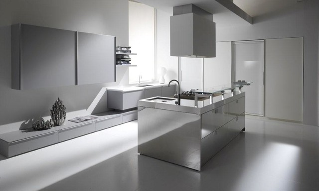 Grey and white glass with stainless steel kitchen  Modern  Kitchen