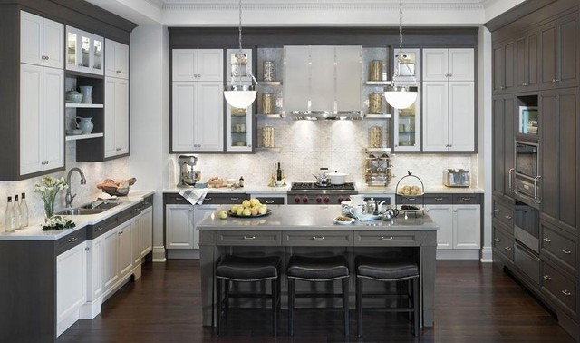 Grey and white kitchen - Contemporary - Kitchen - Toronto - by ...