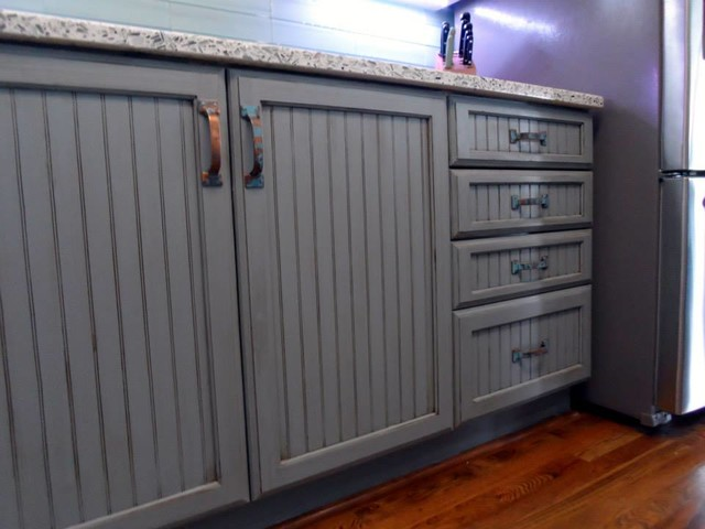 Grey/blue Glazed and Distressed Cabinets - Traditional ...