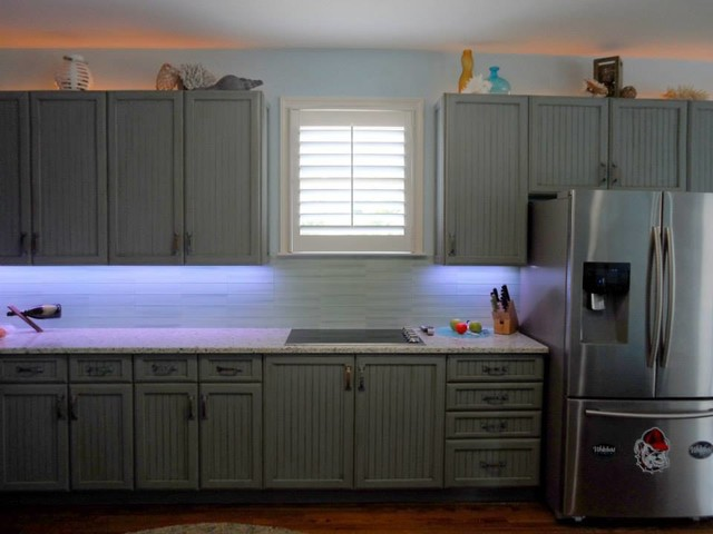 Blue Glazed And Distressed Cabinets Traditional Kitchen Grey