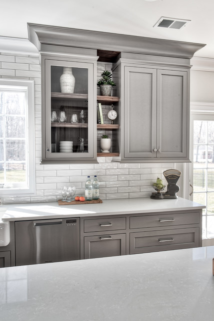 Grey Classic Kitchen Transitional Kitchen New York By Standard Tile Houzz Au
