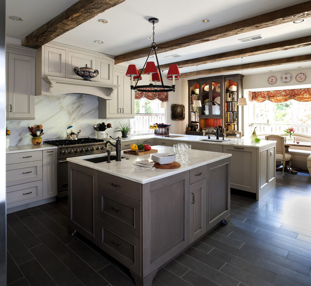 White And Grey Traditional Kitchen grey country kitchen - traditional - kitchen - dc metro -jack