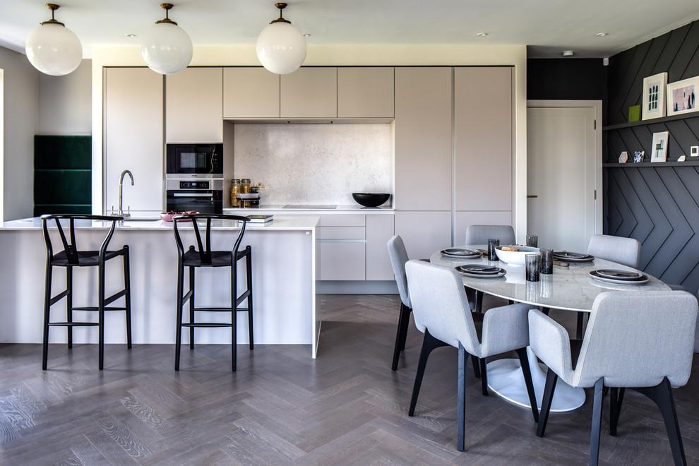 Grey Herringbone Wood Floors In Kitchen