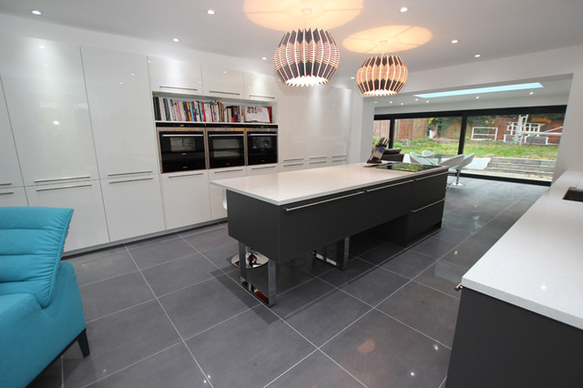 Grey Kitchen Island In Two Tone Kitchen Contemporary Kitchen