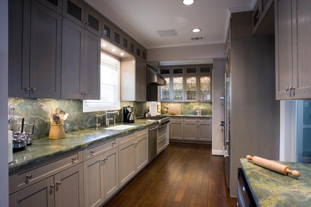 Large Eclectic Galley Dark Wood Floor Eat In Kitchen Photo Houston With An Undermount