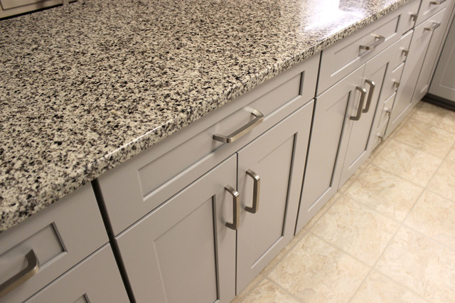 Grey Kitchen With White Subway Tile Backsplash And Granite Countertops Copley Transitional Kitchen Cleveland By Cabinet S Top Houzz Au