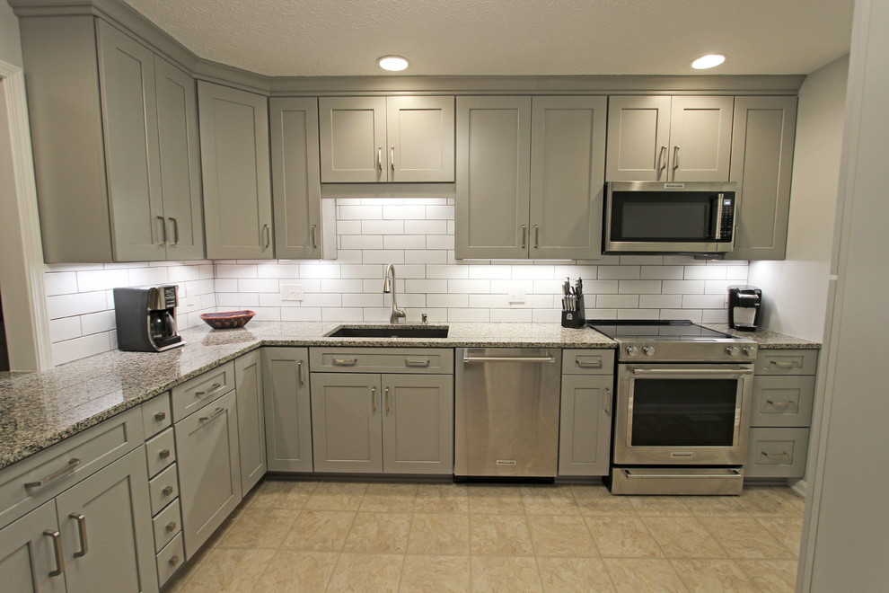 Grey Kitchen With White Subway Tile Backsplash And Granite Countertops Copley Transitional Kitchen Cleveland By Cabinet S Top Houzz Ie