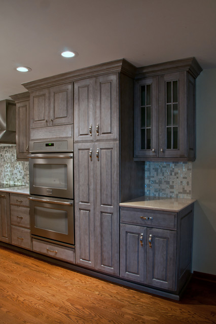 Grey Stained Walnut Kitchen Cabinetry Transitional
