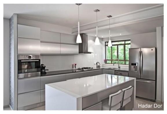 Grey white house modern kitchen