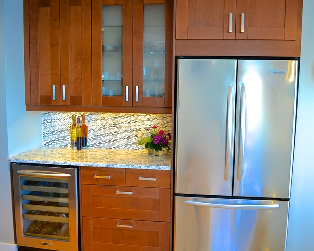 ... (IKEA) shaker cabinets in white and medium brown traditional-kitchen