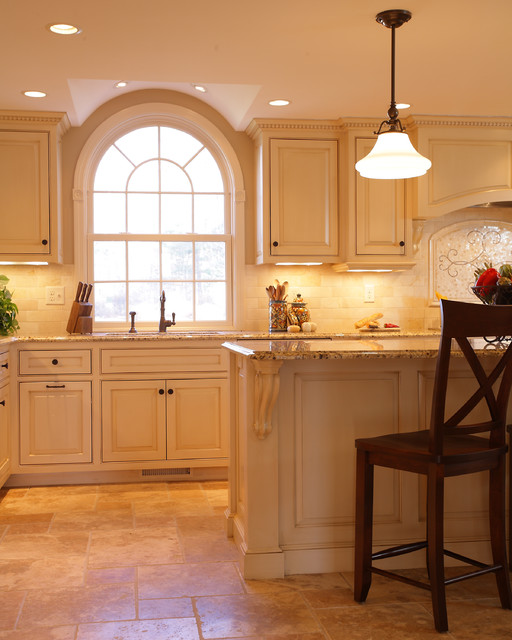 Groton MA custom glazed kitchen traditional-kitchen