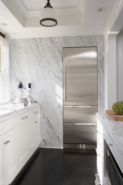 Groveland Co-op | marble refrigerator wall eclectic-kitchen