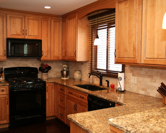 Small Media Room Kitchen Design Ideas, Remodels & Photos with Black