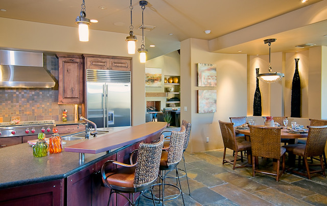 Hacienda Floor Plan, Arizona Ranch Elevation southwestern-kitchen