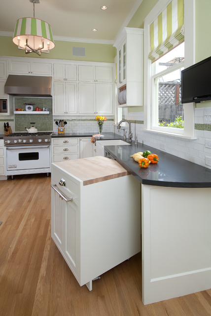 Kitchen - contemporary kitchen idea in San Francisco with white appliances, a farmhouse sink, recessed-panel cabinets, white cabinets, green backsplash, mosaic tile backsplash and quartz countertops