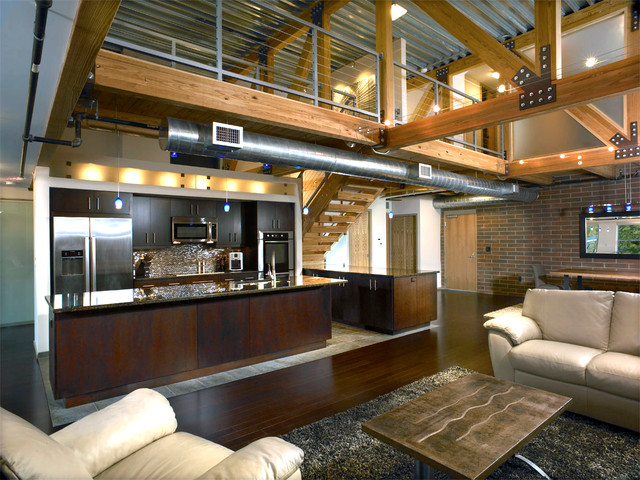 Hamilton Loft Industrial Kitchen Detroit By Roger J Berent Architects