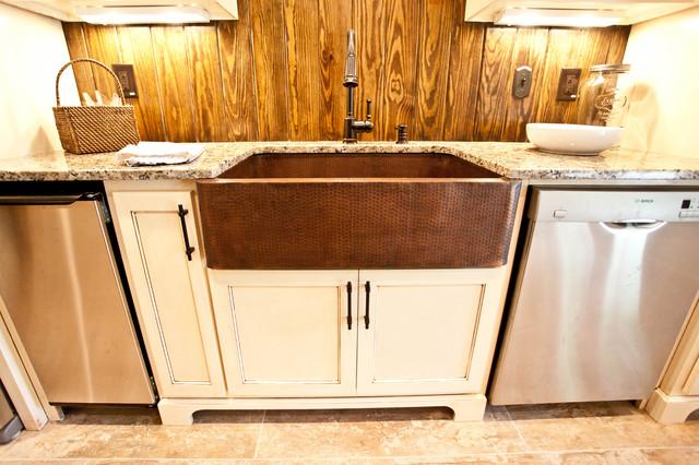 Elegant Hammered Copper Apron Sink Traditional Kitchen