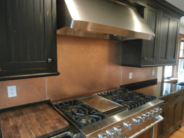 hammered copper backsplash in westchester traditional