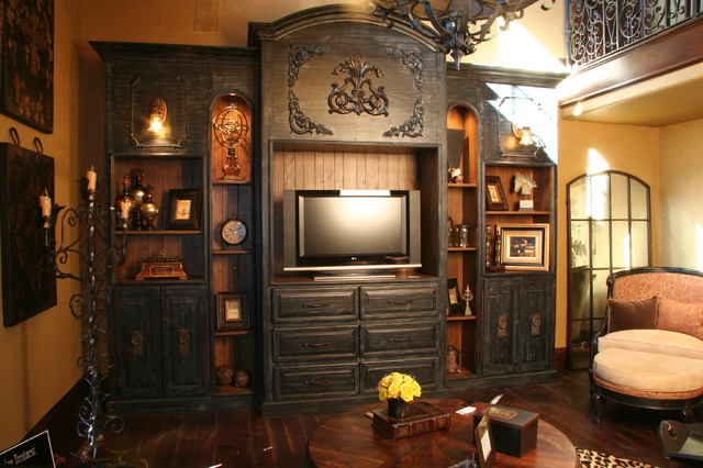 Hand Built Entertainment Center Mediterranean Kitchen