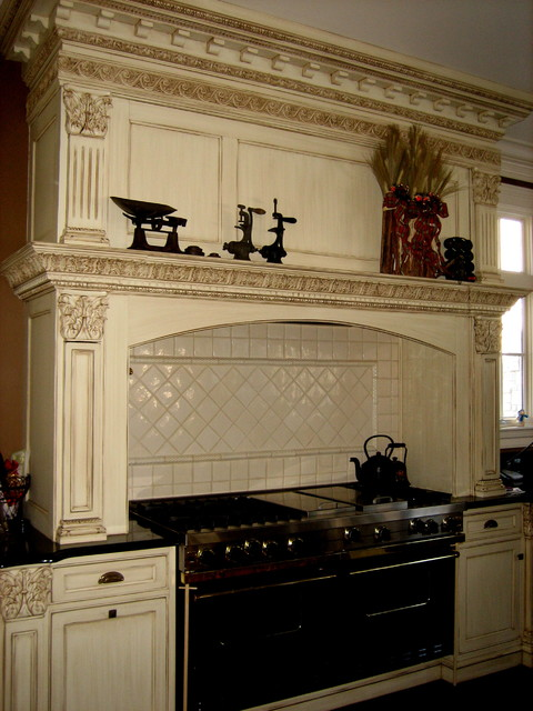 hand painted and distressed kitchen cabinetry traditional-kitchen