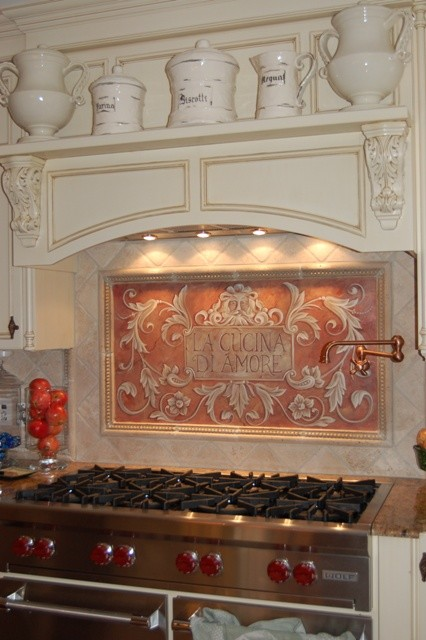 Hand Painted Kitchen Design Ideas ~ Hand painted kitchen backsplash mediterranean