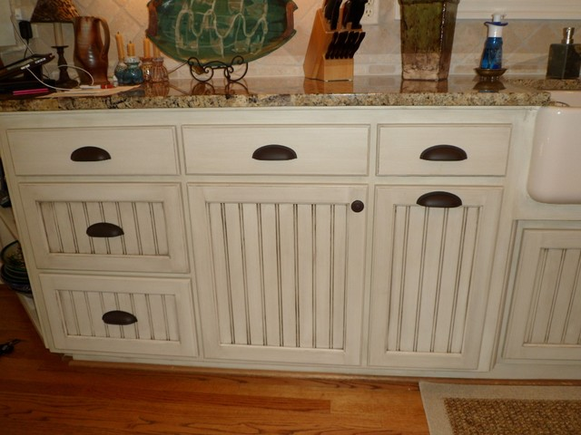 Hand painted kitchen cabinets mediterranean kitchen for Beadboard kitchen cabinets