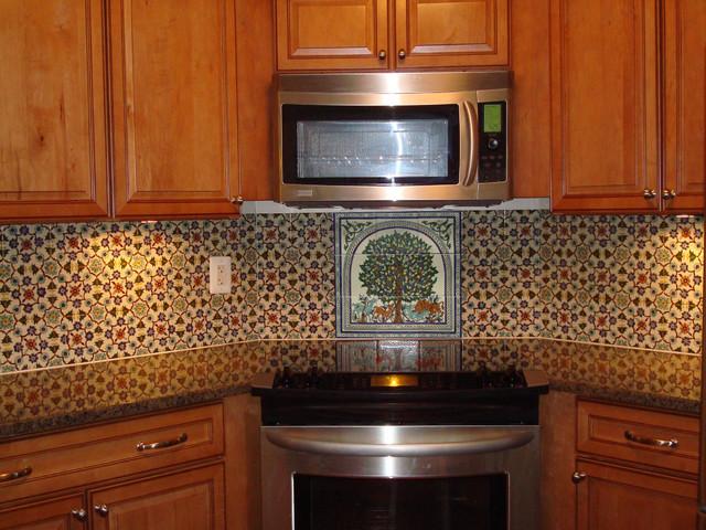 Hand Painted Tile Backsplash Mediterranean Kitchen