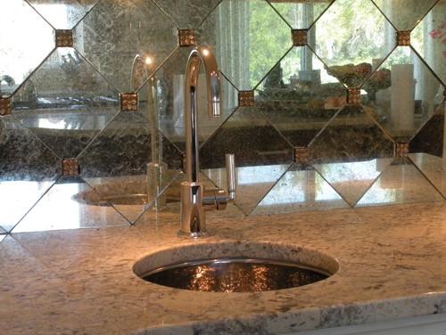 Hand silvered glass backsplash tiles