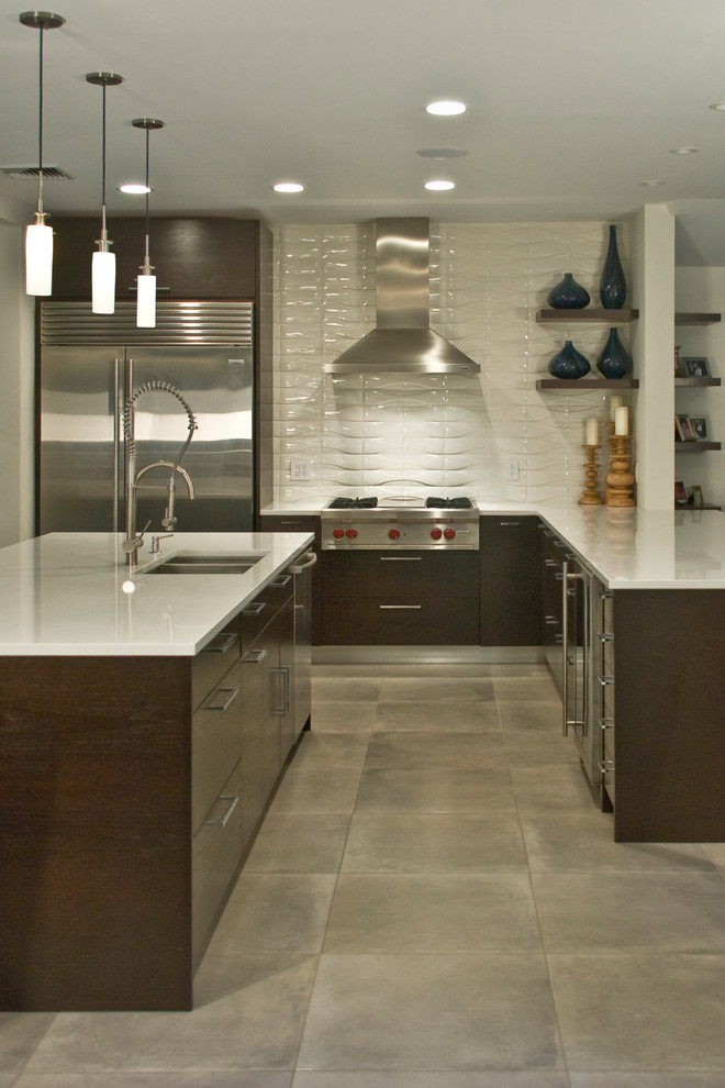 Example of a trendy kitchen design in San Diego with stainless steel appliances