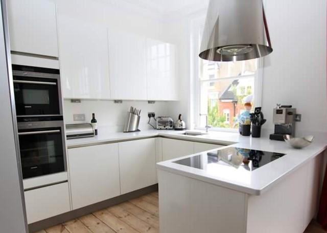 white kitchen peninsula - Modern - Kitchen - other metro - by LWK ...
