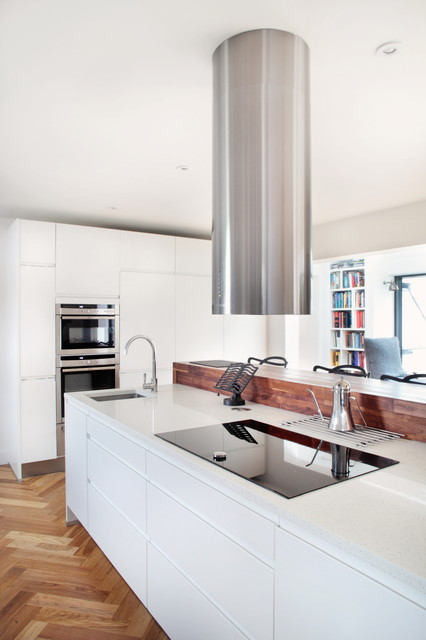 handleless white kitchen with modern appliances contemporary kitchen