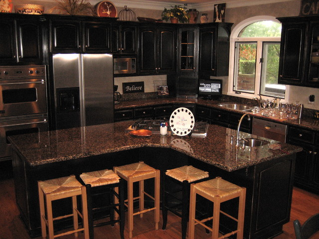 Distressed Black Kitchen Cabinetry, Distressed Black Cabinets With Granite Countertops
