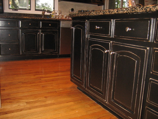 Handpained And Distressed Black Kitchen Cabinetry Traditional Kitchen