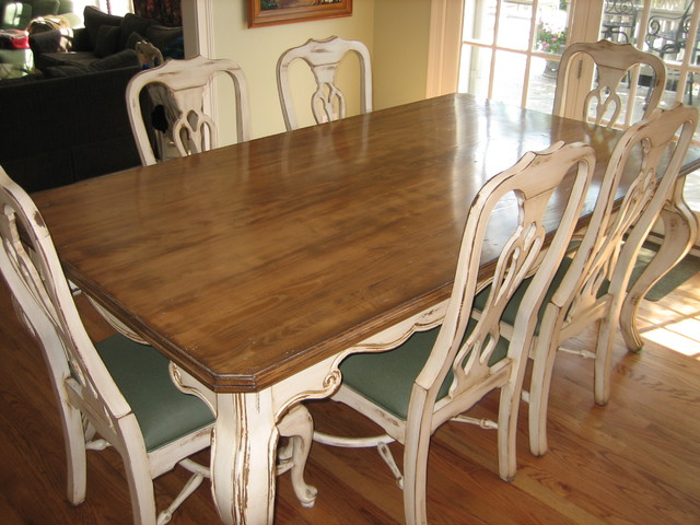 Handpainted Distressed And Stained Table Chairs