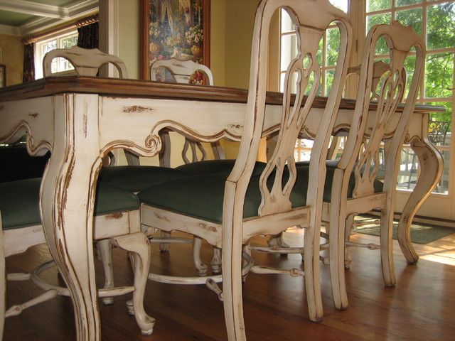 Handpainted Distressed And Stained Table Chairs Painted Dining