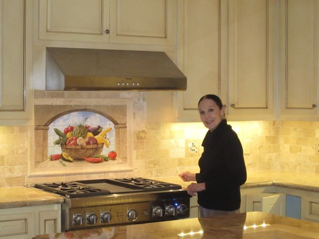 Harvest basket tile mural mediterranean kitchen san for Backsplash mural